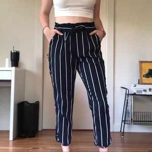 Zara Navy and White Striped Trousers
